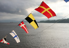 Saint Lawrence River. Colourful flags on a ferry boat on the Saint Lawrence River royalty free stock photography