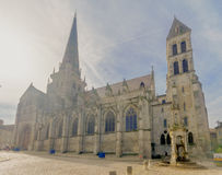 Saint Lazare Cathedral, in Autun. AUTUN, FRANCE - OCTOBER 16, 2016: The Saint-Lazare Cathedral, with locals and visitors, in Autun, Burgundy, France Royalty Free Stock Photo