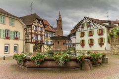 Saint-Leon fountain in Eguisheim, Alsace, France Royalty Free Stock Images