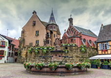 Saint-Leon fountain in Eguisheim, Alsace, France Stock Images