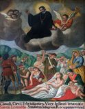 Saint Leonard treat people. Altarpiece in the church of Saint Leonard of Noblac in Kotari, Croatia Stock Images