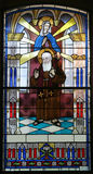 Saint Leopold Mandic. Stained glass Stock Photo
