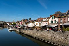 The quay of restaurants in Amiens in France royalty free stock photos