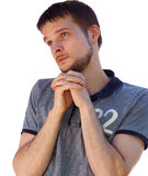 Saint looking man praying for something Stock Photos