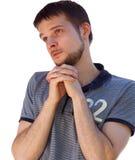 Saint looking man praying for something Stock Photos