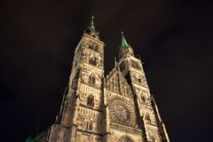 Free Saint Lorenz Cathedral In The Night Royalty Free Stock Photos - 165206788