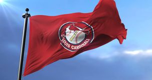 Saint Louis Cardinals flag, american professional baseball team - loop. Flag of the team of Saint Louis Cardinals, american professional baseball team, waving at stock video footage