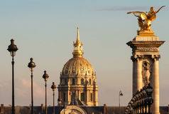 The Saint Louis cathedral and Alexandre III bridge , Paris, France. Royalty Free Stock Photography