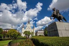 Saint Louis Cathedral et statue d'Andrew Jackson image libre de droits
