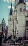 Saint Louis Cathedral French Quarter Street Jazz Performers de Nova Orleães Fotografia de Stock