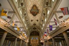 Saint Louis Cathedral Interior Wide de Nova Orleães Foto de Stock