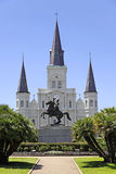 Saint Louis Cathedral in New Orleans, Louisiana. View of Saint Louis Cathedral and General Andrew Jackson statue from across Jackson Square in the French Royalty Free Stock Photos