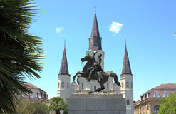 Saint Louis Cathedral and statue Stock Photos