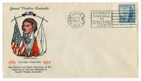 Saint Louis, Etats-Unis - 13 octobre 1933 : Enveloppe historique des USA : couverture avec le Général Thaddeus Kosciuszko, timbre photo libre de droits