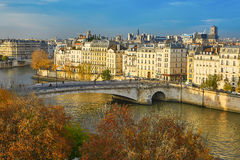 Saint-Louis island on a bright fall day in Paris Royalty Free Stock Images