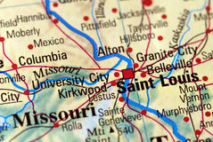 Saint Louis on the map Royalty Free Stock Image