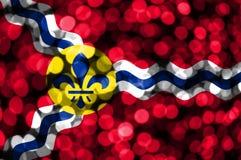Saint Louis Missouri abstrakt oskarp bokehflagga Jul, nytt år och begreppsflagga för nationell dag Amerika tillstånd förenade royaltyfri illustrationer
