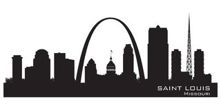 Saint Louis Missouri city skyline vector silhouette. Saint Louis Missouri skyline Detailed vector silhouette stock illustration