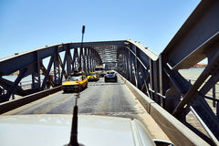 Saint-Louis, Senegal opened Faidherbe bridge spans the Senegal river linking the island-city of St.-Louis to the. Mainland and has a metal deck of riveted royalty free stock photography