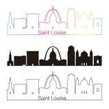 Saint Louise skyline linear style with rainbow Stock Photography