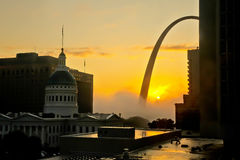 Saint Louis Sunrise and Gateway Arch Royalty Free Stock Photography
