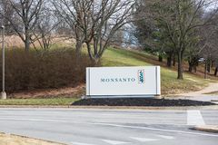 Monsanto Global Headquarters Sign. SAINT LOUIS, UNITED STATES - December 17, 2017: Monsanto sign at entrance to global research headquarters at Chesterfield royalty free stock images