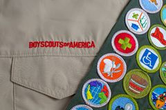 Boy Scout uniform and sash Royalty Free Stock Photos