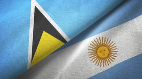 Saint Lucia and Argentina two flags textile cloth, fabric texture. Saint Lucia and Argentina flags together textile cloth, fabric texture royalty free illustration