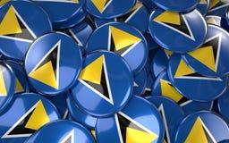 Saint Lucia Badges Background - pile de saint Lucian Flag Button Images libres de droits