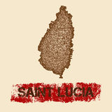 Saint Lucia distressed map. Grunge patriotic poster with textured island ink stamp and roller paint mark, vector illustration Royalty Free Stock Photo