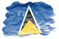 Saint Lucia flag is depicted in liquid watercolor style isolated on white background. Careless paint shading with image of national flag. Independence Day stock photo
