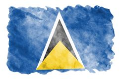 Saint Lucia flag is depicted in liquid watercolor style isolated on white background. Careless paint shading with image of national flag. Independence Day royalty free stock images
