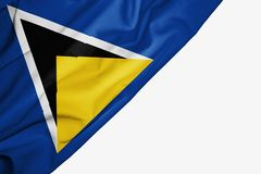 Saint Lucia flag of fabric with copyspace for your text on white background. Somalia flag of fabric with copyspace for your text on white background middle vector illustration
