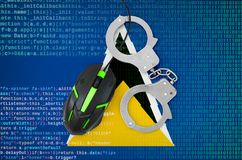 Saint Lucia flag and handcuffed computer mouse. Combating computer crime, hackers and piracy. Saint Lucia flag and handcuffed modern backlit computer mouse stock photography