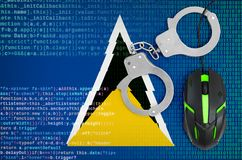 Saint Lucia flag and handcuffed computer mouse. Combating computer crime, hackers and piracy. Saint Lucia flag and handcuffed modern backlit computer mouse stock photos