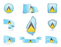 Saint Lucia Flags Collection Image libre de droits