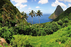 Saint Lucia. Hill between the Pitons and valley of Saint Lucia on the town of Jalousie Stock Photo