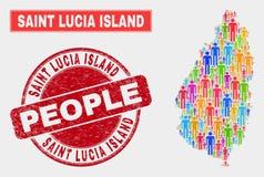 Saint Lucia Island Map Population Demographics e selo de borracha ilustração stock