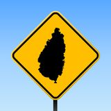 Saint Lucia map on road sign. Square poster with Saint Lucia island map on yellow rhomb road sign. Vector illustration Royalty Free Stock Photo
