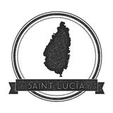 Saint Lucia map stamp. Royalty Free Stock Photo