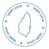 Saint Lucia map sticker. Hipster and retro style badge. Minimalistic insignia with round dots border. Island vector illustration Royalty Free Stock Image