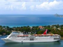 Saint Lucia - May 12, 2016: The Carnival Cruise Ship Fascination at dock. Saint Lucia, Saint Lucia - May 12, 2016: The Carnival Cruise Ship Fascination at dock Royalty Free Stock Photo