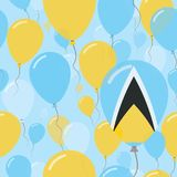 Saint Lucia National Day Flat Seamless Pattern. Flying Celebration Balloons in Colors of Saint Lucian Flag. Happy Independence Day Background with Flags and Stock Photo