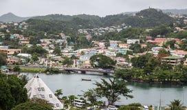 Saint Lucia och Castries hamn Arkivbild