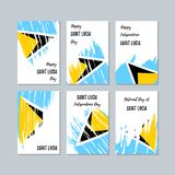 Saint Lucia Patriotic Cards para o dia nacional ilustração do vetor
