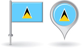 Saint Lucia pin icon and map pointer flag. Vector Stock Images
