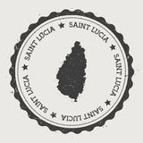Saint Lucia sticker. Hipster round rubber stamp with island map. Vintage passport sign with circular text and stars, vector illustration Stock Photography
