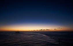 Saint Lucia tropical island - Caribbean sea at sunset. Castries - Cruise ship stock photo