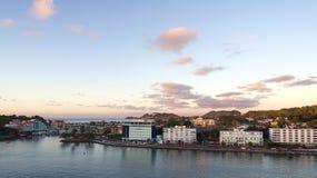 Saint Lucia tropical island - Caribbean sea at sunset. Castries harbor stock photo