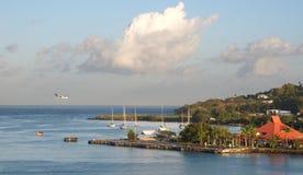 Saint Lucia tropical island - Castries harbor and airport. Saint Lucia tropical island - Caribbean sea - Castries harbor and airport stock photography